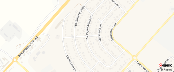 Заречный переулок на карте Новосадового поселка с номерами домов