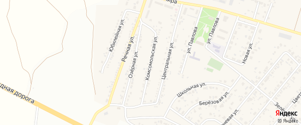 Комсомольская улица на карте Новосадового поселка с номерами домов