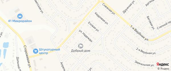 Улица Надежды на карте Новосадового поселка с номерами домов