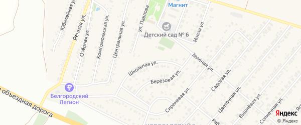 Школьная улица на карте Новосадового поселка с номерами домов