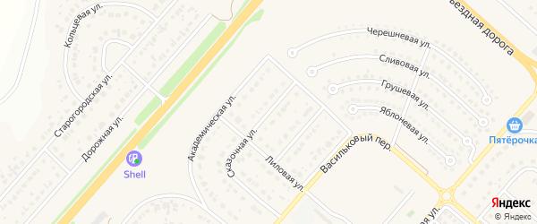 Алмазная улица на карте Новосадового поселка с номерами домов