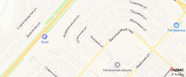 Лиловая улица на карте Новосадового поселка с номерами домов