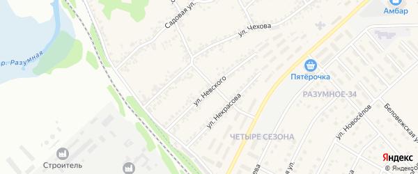 Улица Невского на карте поселка Разумного с номерами домов
