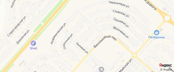 Лиловый проезд на карте Новосадового поселка с номерами домов