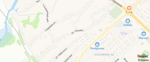 Улица Чехова на карте поселка Разумного с номерами домов