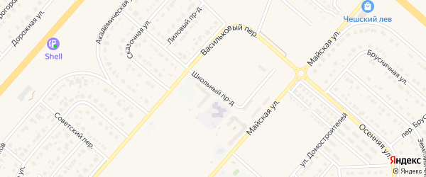 Школьный проезд на карте Новосадового поселка с номерами домов