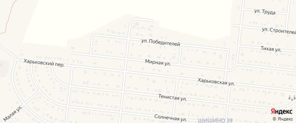 Мирная улица на карте села Шишино с номерами домов