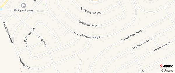 Благовещенская улица на карте Новосадового поселка с номерами домов
