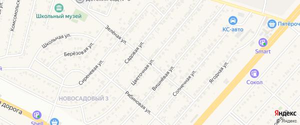 Зеленая улица на карте Новосадового поселка с номерами домов