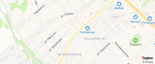 Железнодорожная улица на карте поселка Разумного с номерами домов
