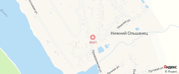 Придорожная улица на карте села Нижнего Ольшанца с номерами домов