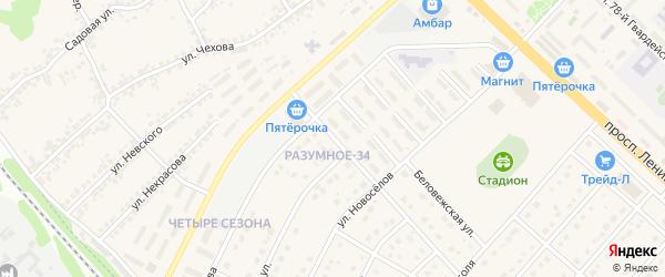 Соловьиная улица на карте поселка Разумного с номерами домов