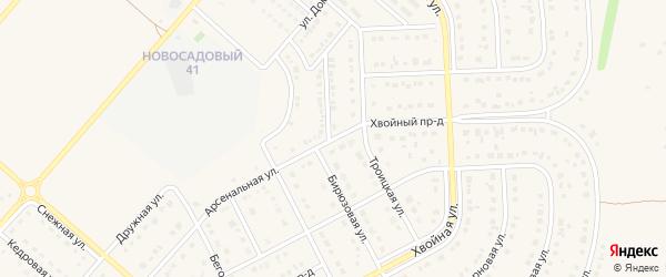 Проезд 1-й Домостроителей на карте Новосадового поселка с номерами домов