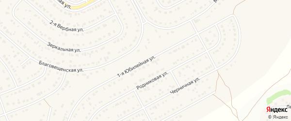 1-я Юбилейная улица на карте Новосадового поселка с номерами домов