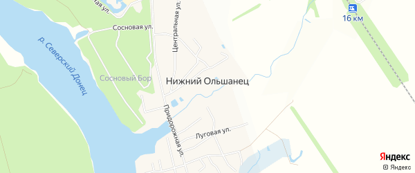 СТ Путеец на карте села Нижнего Ольшанца с номерами домов