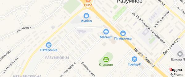 Сиреневая улица на карте поселка Разумного с номерами домов