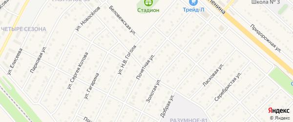 Почетная улица на карте поселка Разумного с номерами домов