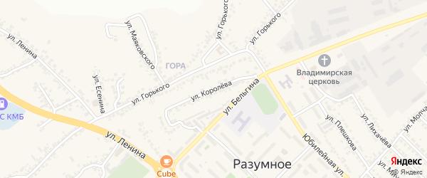Улица Королева на карте поселка Разумного с номерами домов