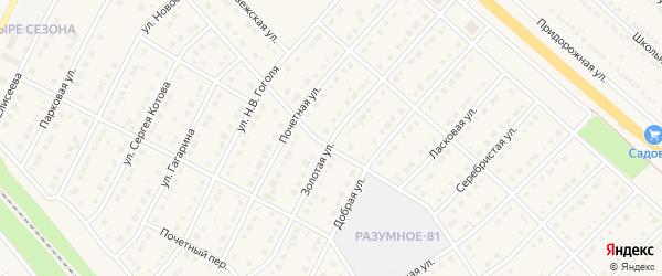Золотая улица на карте поселка Разумного с номерами домов