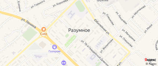Заводская улица на карте поселка Разумного с номерами домов