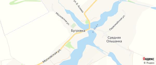 Карта хутора Бугровки в Белгородской области с улицами и номерами домов