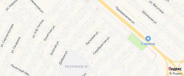Ласковая улица на карте поселка Разумного с номерами домов