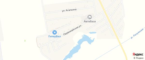 Первомайская улица на карте поселка Разумного с номерами домов