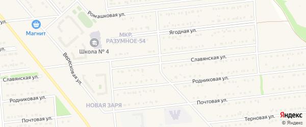 Славянская улица на карте поселка Разумного с номерами домов