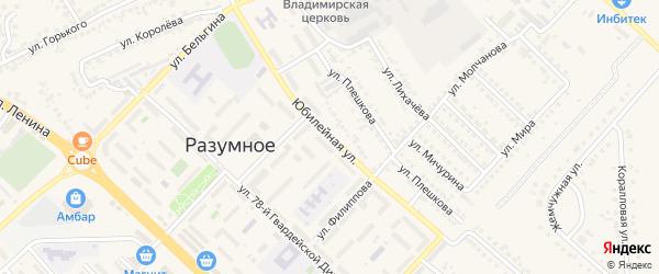 Юбилейная улица на карте поселка Разумного с номерами домов