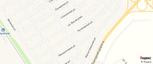Лучезарная улица на карте поселка Разумного с номерами домов