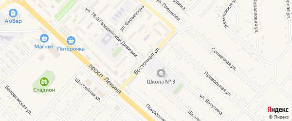 Восточная улица на карте поселка Разумного с номерами домов