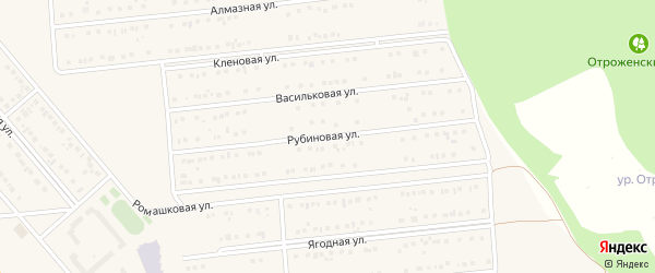 Рубиновая улица на карте поселка Разумного с номерами домов