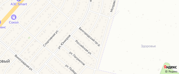 Белгородский проезд на карте Новосадового поселка с номерами домов