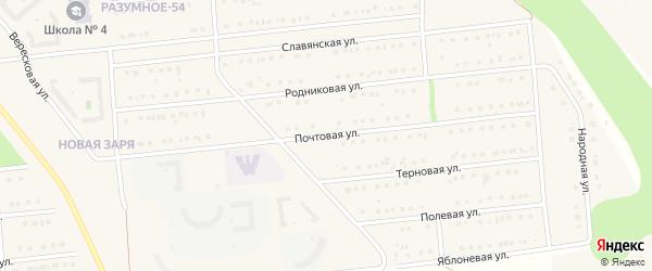 Почтовая улица на карте поселка Разумного с номерами домов