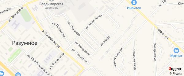 Вишневая улица на карте поселка Разумного с номерами домов