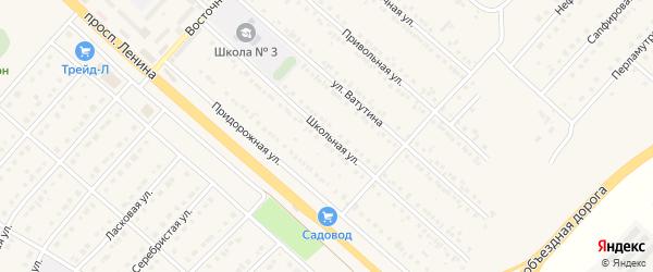 Школьная улица на карте поселка Разумного с номерами домов