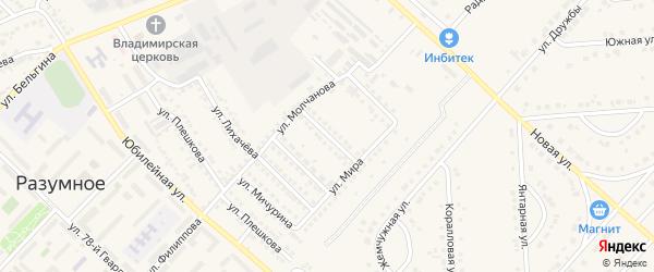 Улица Сорокина на карте поселка Разумного с номерами домов