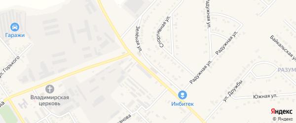 Зеленая улица на карте поселка Разумного с номерами домов