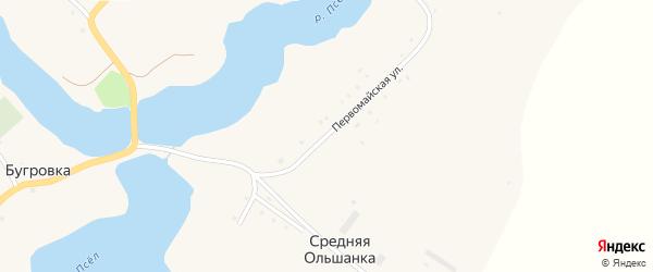 Первомайская улица на карте хутора Средней Ольшанки с номерами домов