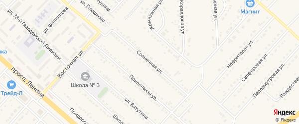 Солнечная улица на карте поселка Разумного с номерами домов