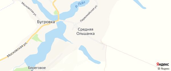 Карта хутора Средней Ольшанки в Белгородской области с улицами и номерами домов