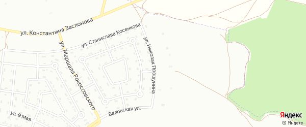 Улица Николая Прошунина на карте Белгорода с номерами домов