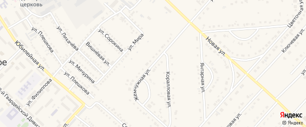 Жемчужная улица на карте поселка Разумного с номерами домов