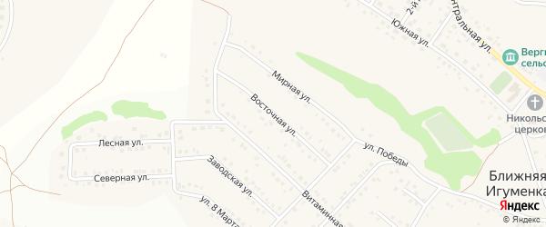 Восточная улица на карте села Ближней Игуменки с номерами домов