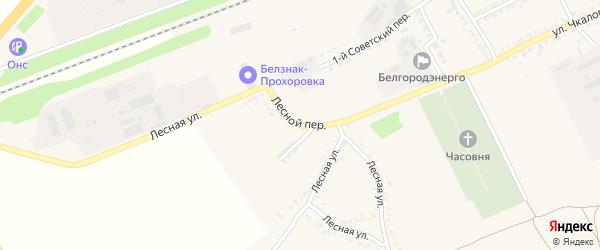 Лесной переулок на карте поселка Прохоровка с номерами домов