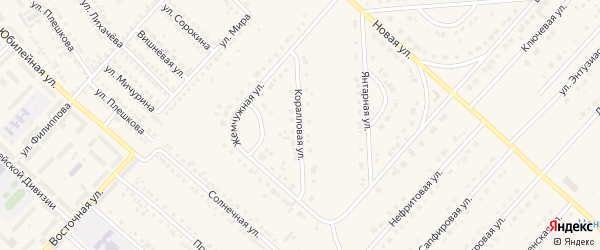 Коралловая улица на карте поселка Разумного с номерами домов
