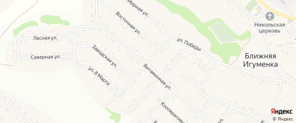 Улица Победы на карте села Ближней Игуменки с номерами домов