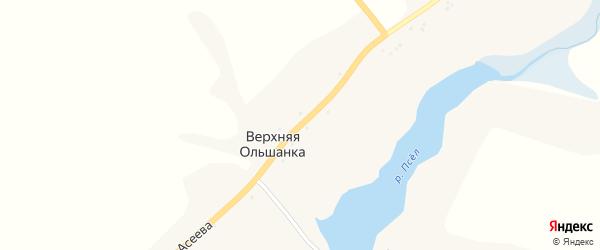 Улица Б.Асеева на карте хутора Верхней Ольшанки с номерами домов