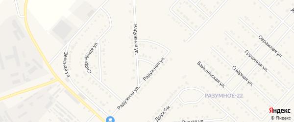 Пер. 1 Радужный переулок на карте поселка Разумного с номерами домов