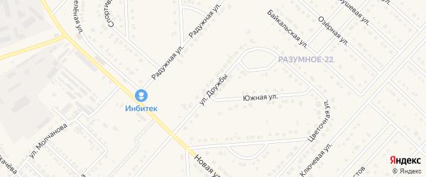 Улица Дружбы на карте поселка Разумного с номерами домов